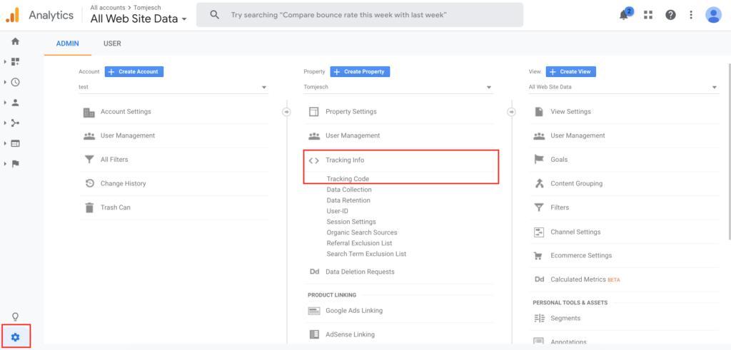 Tracking code Google Analytics terug vinden