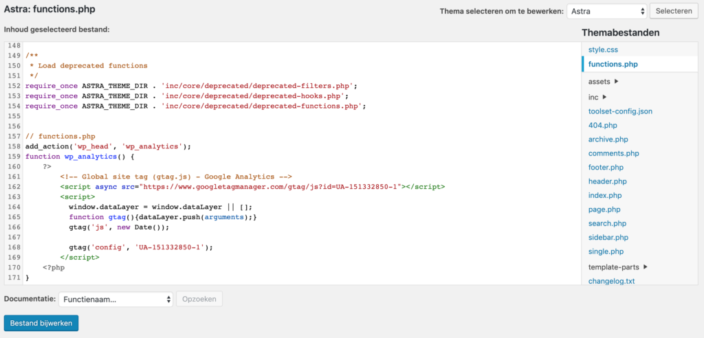 Functions bestand met Google Analytics tracking code